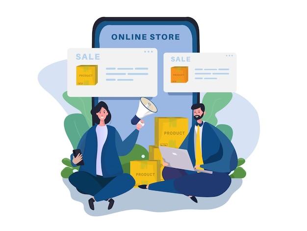 Ilustracja promocji marketingu cyfrowego