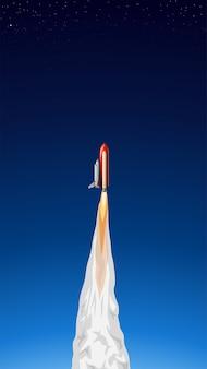 Ilustracja promu kosmicznego lecącego do kosmosu z czerwonym wzmacniaczem
