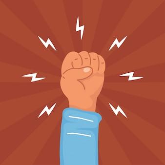 Ilustracja protestu ludzkiej pięści dłoni