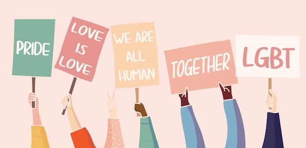 Ilustracja. protestujący ludzie z plakatami wyrażają swoje żądania. społeczność lgbt