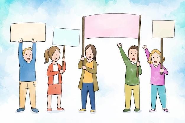 Ilustracja protestujących ludzi