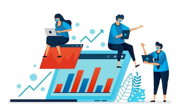 Ilustracja prowadzenia i zwiększania wydajności biznesowej w pandemii. nowa normalna działalność gospodarcza. projekt może być wykorzystany do strony docelowej, strony internetowej, aplikacji mobilnej, plakatu, ulotek, banera