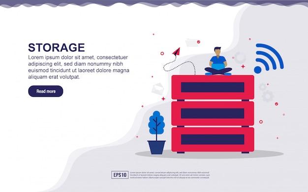Ilustracja przechowywania i dużych danych z małymi ludźmi. ilustracja do strony docelowej, treści w mediach społecznościowych, reklamy.