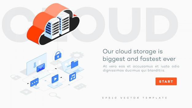 Ilustracja przechowywania w chmurze.