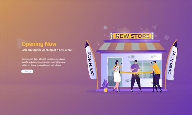 Ilustracja przecięcia wstążki z okazji otwarcia nowej koncepcji sklepu