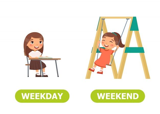 Ilustracja przeciwieństw: dzień tygodnia i weekend.