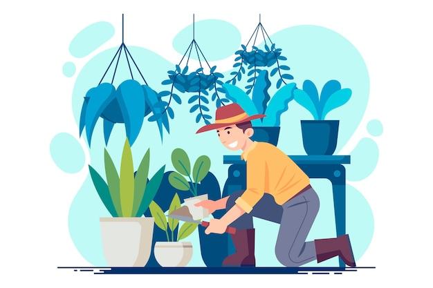 Ilustracja przedstawia płaski mężczyzna opiekujący się roślinami