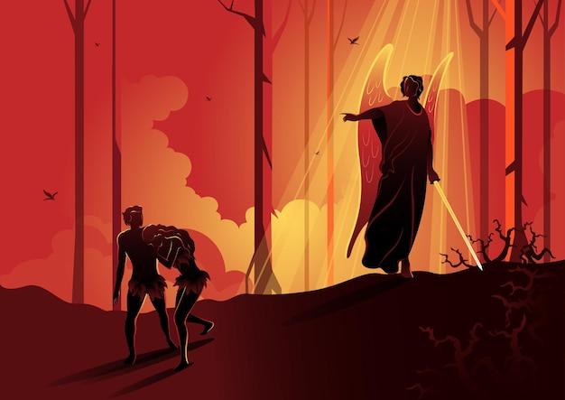 Ilustracja przedstawiająca adama i ewę wygnanych z ogrodu. seria biblijna