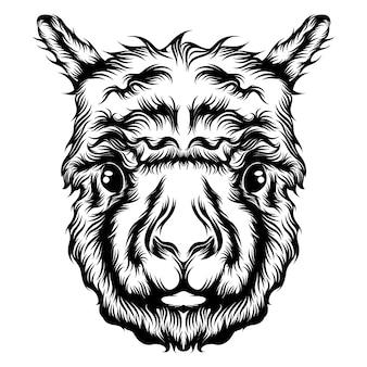 Ilustracja przedstawiająca animację tatuażu z pojedynczą głową alpaki