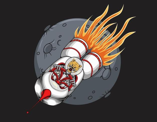 Ilustracja przedstawiająca astronautę wilka rakietowego na księżycu