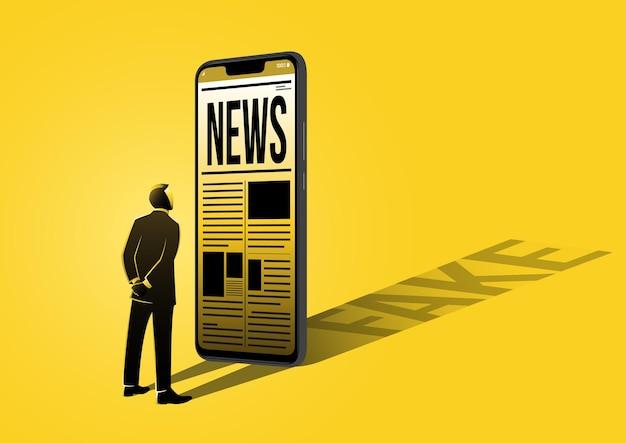 Ilustracja przedstawiająca biznesmena czytającego fałszywe wiadomości na telefonie komórkowym na żółtym tle