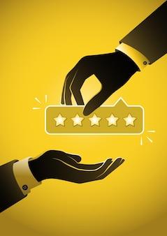 Ilustracja przedstawiająca biznesmena dającego w ręku 5 gwiazdek. koncepcja informacji zwrotnej