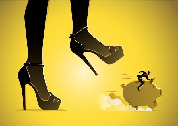 Ilustracja przedstawiająca biznesmena jadącego skarbonką i biegającego pod niebezpieczną stopą kobiety, gotowej na nią nadepnąć.