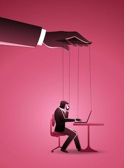 Ilustracja przedstawiająca biznesmena pracującego z laptopem kontrolowanym przez mistrza lalek