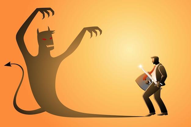 Ilustracja przedstawiająca biznesmena trzymającego miecz i tarczę gotowego do walki z własnym złym cieniem