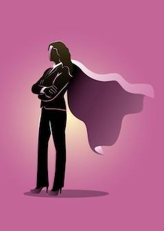 Ilustracja przedstawiająca biznesową kobietę stojącą z rękami skrzyżowanymi w płaszczu superbohatera