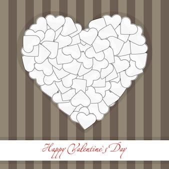 Ilustracja przedstawiająca brązową pocztówkę duże serce z małych białych serc
