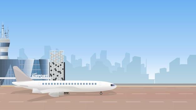 Ilustracja przedstawiająca budynek terminalu lotniczego z dużym samolotem i startującym samolotem