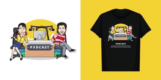 Ilustracja przedstawiająca chłopca i dziewczynę nadając podcast radiowy z projektem koszulki