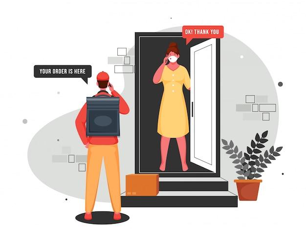 Ilustracja przedstawiająca chłopca kuriera rozmawiającego z klientem przez telefon przy drzwiach w dostawie zbliżeniowej podczas koronawirusa (covid-19).