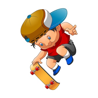 Ilustracja przedstawiająca chłopca używającego czerwonego sukna i grającego na deskorolce z dobrą pozą