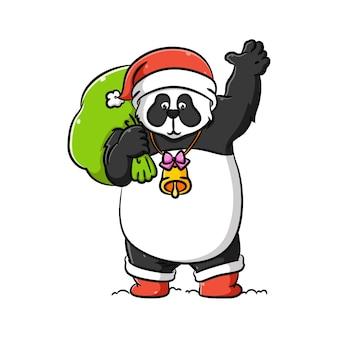 Ilustracja przedstawiająca cosplay pandy w stroju świętego mikołaja trzyma zielony worek prezentu