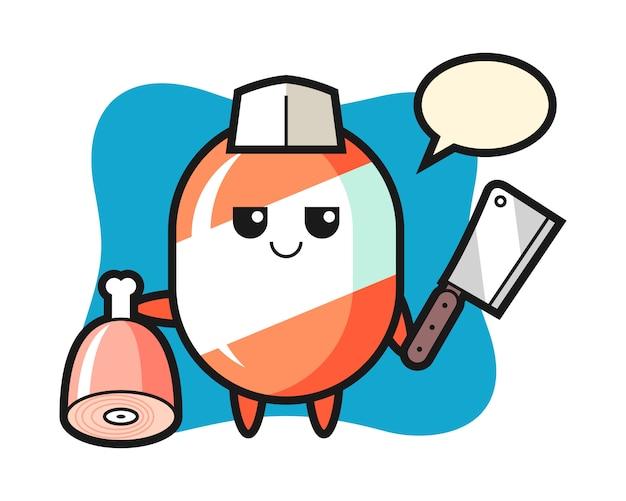 Ilustracja przedstawiająca cukierka jako rzeźnik