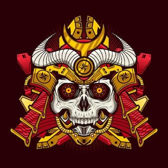 Ilustracja przedstawiająca cyborga czaszki króla samuraja z hełmem szczegółowy projekt wektorowy
