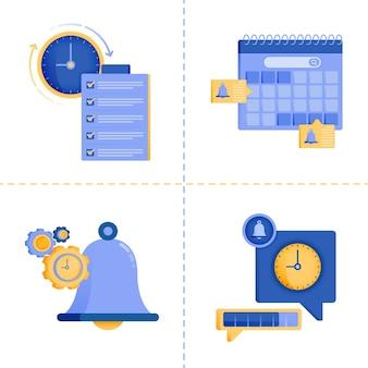 Ilustracja przedstawiająca czas, biznes, technologię, listę kontrolną, porządek obrad i harmonogram.