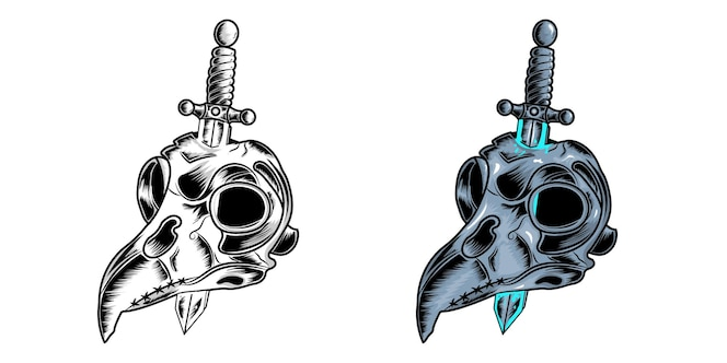 Ilustracja przedstawiająca czaszkę sowy, rysunek ze szkicem i pełny kolor dla plakatów lub projektów ubrań