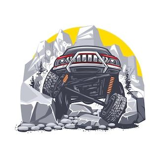 Ilustracja przedstawiająca czerwony samochód terenowy pokonujący trudne przeszkody w górach