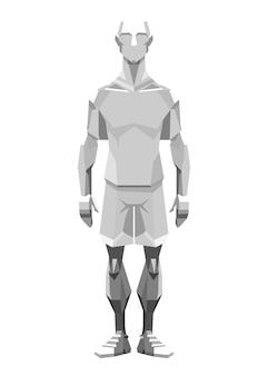 Ilustracja przedstawiająca człowieka jak robot w skali szarości