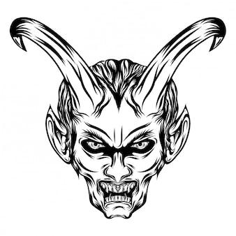 Ilustracja przedstawiająca demony z długimi rogami i otwiera usta