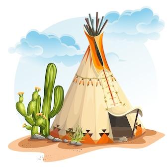 Ilustracja przedstawiająca dom tipi indian północnoamerykańskich z kaktusem i kamieniami