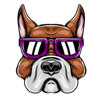 Ilustracja przedstawiająca dużego pitbulla dla inspiracji maskotką z fioletowymi okularami przeciwsłonecznymi