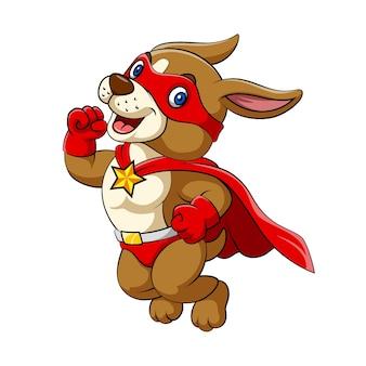 Ilustracja przedstawiająca dużego psa z radosną buzią i ubranego w kostium wszystkich czerwonych superbohaterów