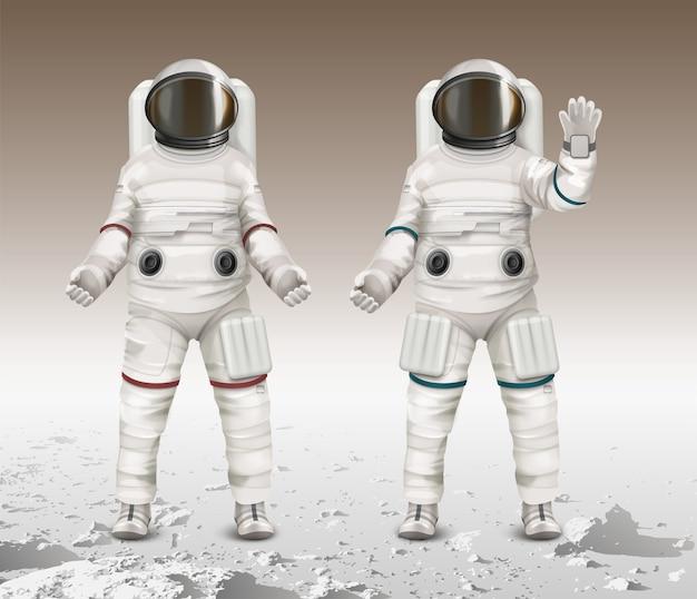 Ilustracja przedstawiająca dwóch astronautów w kombinezonach kosmicznych