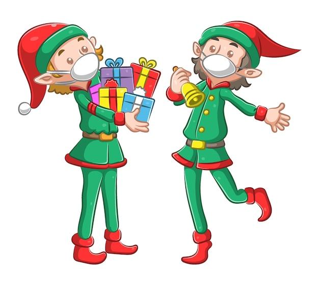 Ilustracja przedstawiająca dwóch elfów trzyma dużo prezentu i złoty dzwonek