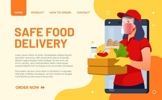 Ilustracja przedstawiająca dziewczynę dostarczającą jedzenie przestrzegającą protokołów zdrowotnych i zawsze noszącą maskę. koncepcja strony docelowej
