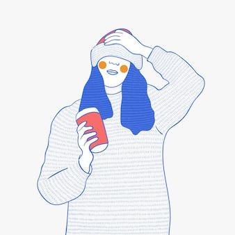 Ilustracja przedstawiająca dziewczynę trzymającą filiżankę kawy na boże narodzenie