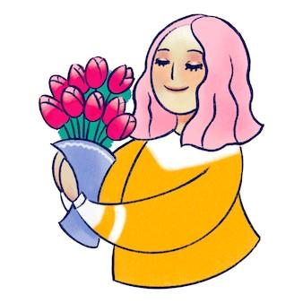 Ilustracja przedstawiająca dziewczynę z różowymi włosami z kwiatami tulipanów w dłoniach na dzień dziewcząt, kobiet i matek