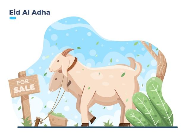Ilustracja przedstawiająca eid al adha sprzedaje ofiarne zwierzę kozy lub owce na sprzedaż, gdy eid al adha mubarak