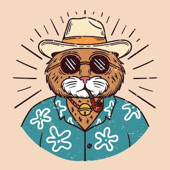 Ilustracja przedstawiająca fajnego kota w kapeluszu w okularach przeciwsłonecznych i palącego fajkę