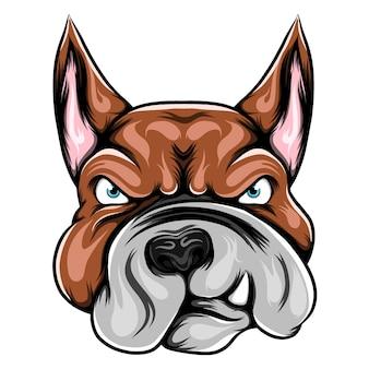 Ilustracja przedstawiająca głowę pitbulla z dziką twarzą dla inspiracji rysunkowej