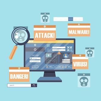 Ilustracja przedstawiająca hakowanie wirusów i złośliwe oprogramowanie
