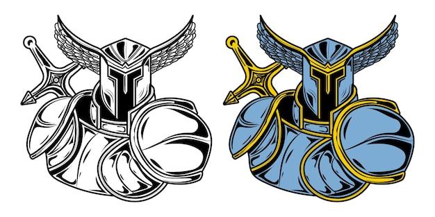 Ilustracja Przedstawiająca Knigt Angel Rysunek Ze Szkicem I Pełnym Kolorem Na Plakaty Lub Projekty Ubrań Premium Wektorów