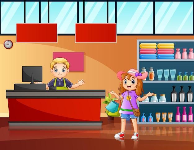 Ilustracja przedstawiająca kobietę płacącą za zakupy w kasie