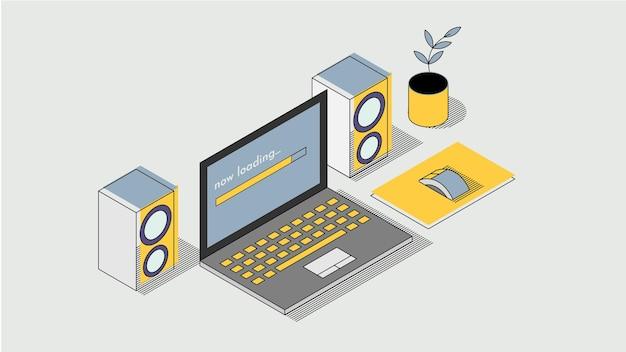 Ilustracja przedstawiająca konfigurację biurka z notebookiem lub laptopem z parą głośników i małą roślinką