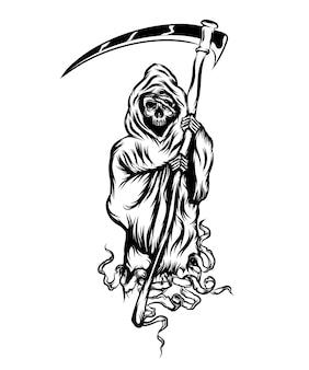 Ilustracja przedstawiająca kostucha stojącego i trzymającego kosę