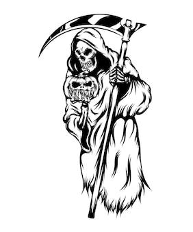 Ilustracja przedstawiająca kostucha trzymającego przerażające dynie